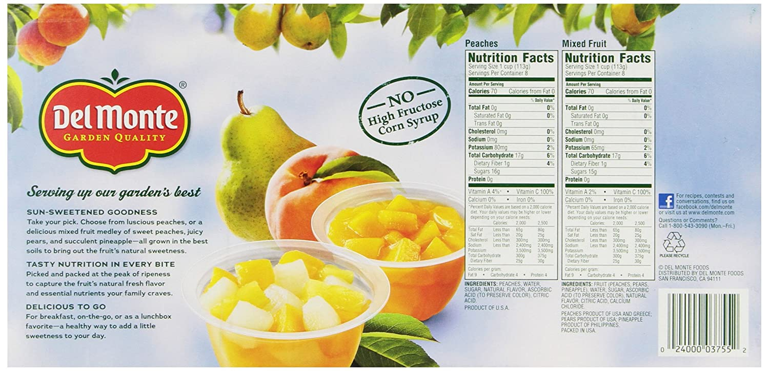 del monte mixed fruit peaches snack cup 16 cups net wt 4 pound