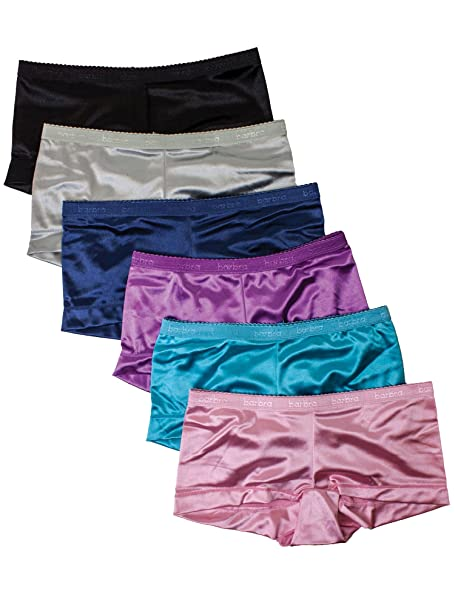 bad83c6f966e Barbra 6 Pack Women's Satin Full Coverage Boyshort Panties: Amazon.ca:  Clothing & Accessories
