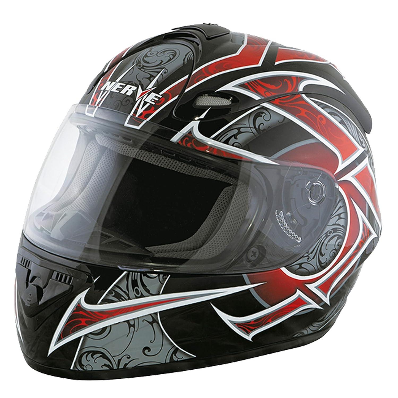 Nerve Shop Motorradhelm Integralhelm NS2013 Vollvisierhelm Fullface Motorrad Helm Mofa Motorroller Damen Herren Erwachsene schwarz-rot XL