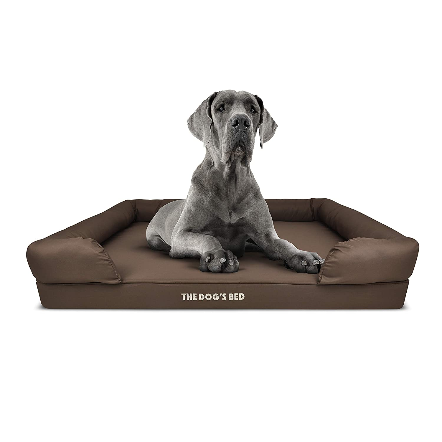 Brown XL Bed (111x86cm)The Dog's Bed, Premium Plush Orthopedic Memory Foam Waterproof Dog Beds, Eases Pet Arthritis & Hip Dysplasia Pain, Therapeutic & Supportive Dog Bed, Washable Covers