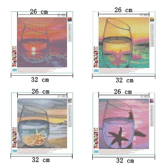 Airrioal 4PCS DIY Diamant Malerei 5d Diamond Painting voller Stickerei Malerei Pier f/ür Home Wand Decor gem/älde Kreuzstich 30 30 cm