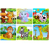 Vibgyor Vibes Wood Jigsaw Puzzles for Children (9 Pieces, Pack of 6)