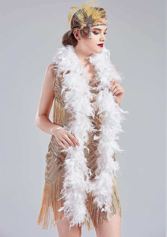 BABEYOND 1920s Flapper Chandelle Feather Boa 20 Gatsby Marabou Feather Boa
