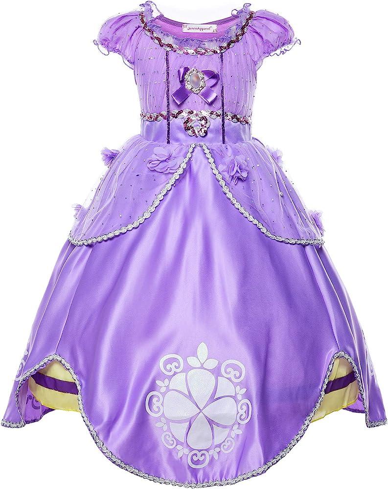 JerrisApparel Niña Disfraz de Princesa Sofía Tul Cumpleaños Partido Vestido