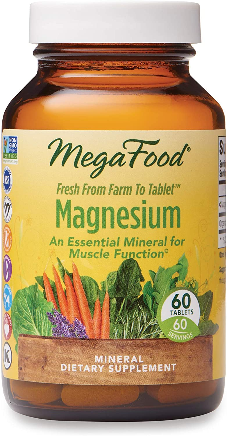 MegaFood, Magnesium, Helps Maintain Nerve and Muscle Function, Essential Mineral Dietary Supplement, Gluten Free, Vegan, 60 Tablets