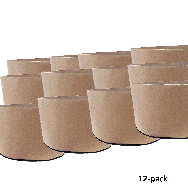 Oppolite 12-Pack 45 Gallon Tan Grow Bags Pots Heavy Duty Fabric Aeration Fabric Pots Grow Bags W/NO Handles (12, 45 Gallon)