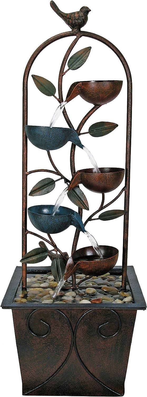 Nature's Garden D9390 Cascade Cups Metal Tabletop Fountain, Brown