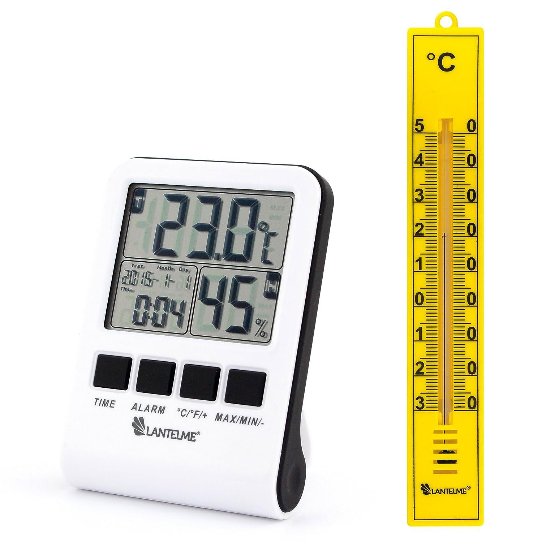 Lantelme 2588 Termometro digitale, igrometro con 2 sensori remoti e funzione min.-max. Sensore per interni ed esterni con 2 misurazioni temperatura e umidità dell'aria