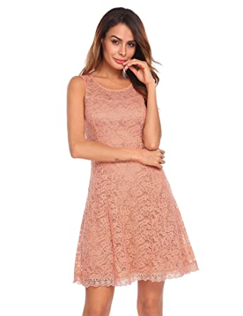 b475e8ee3de416 CHIGANT Damen Spitzenkleid Retro Ärmellos Abendkleider A-Linie Kleider  Knielang  Amazon.de  Bekleidung