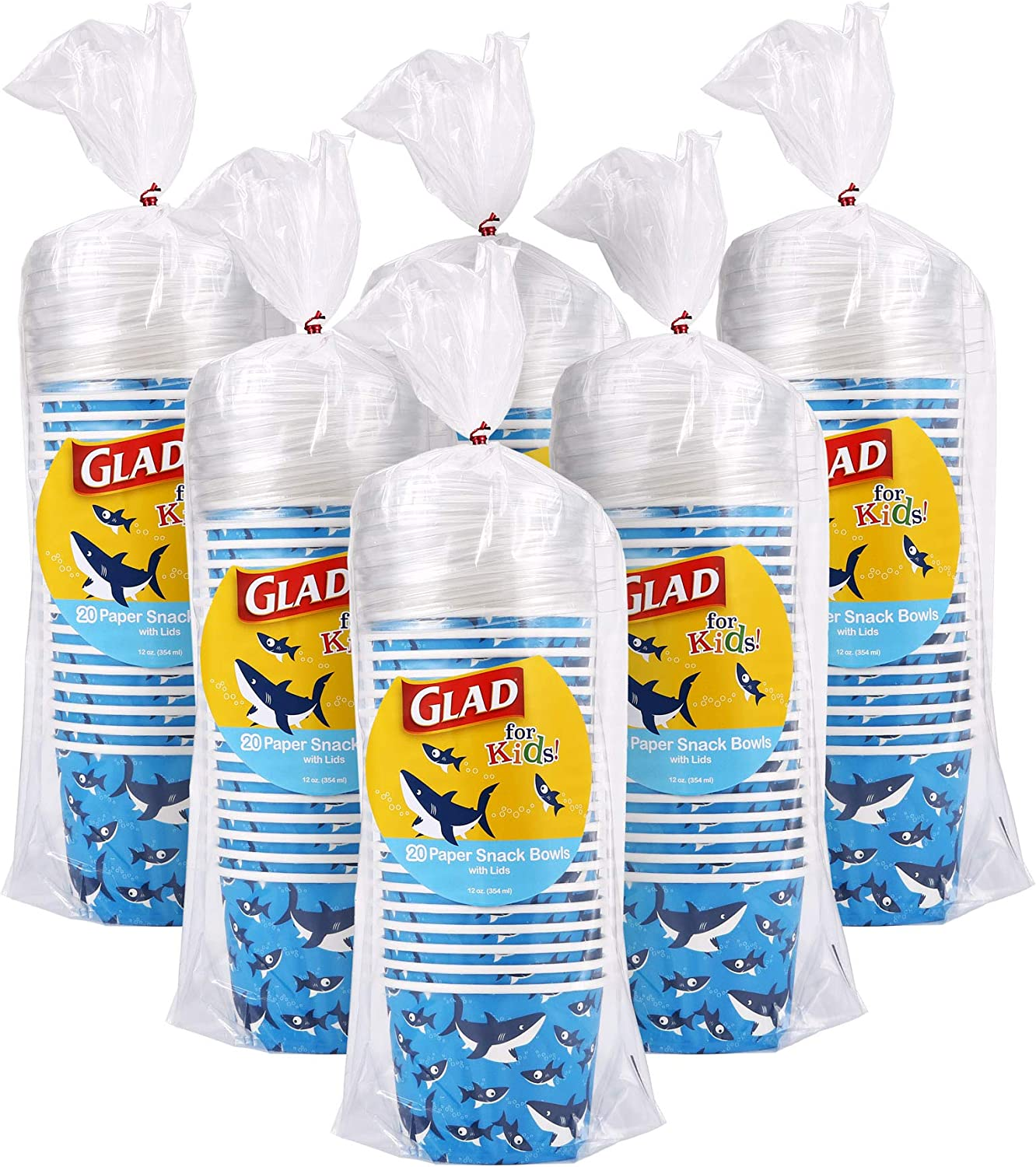 Glad for Kids Sharks 12 oz Paper Snack Bowls with Lids, Disposable Snack Cups with Lids, 12 oz, Heavy Duty Disposable Soak Proof Microwavable Paper Bowls for Soup, Ice Cream, 20 Count (Pack of 6)