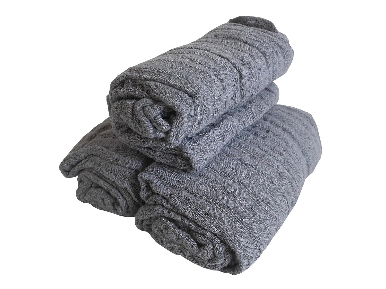 3er Pack Mullwindeln ~ grau ~ vorgewaschen Spucktuch T/ücher Baby Tuch Windeln