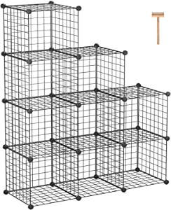 """C&AHOME Metal Wire Cube Storage, 9-Cube Bookcase, Stackable Storage Bins, Modular Book Shelf or Shoe Rack, DIY for Closet, Living Room, Kid's Room, Home Office, 36.6""""L x 12.4""""W x 48.4""""H, Black"""