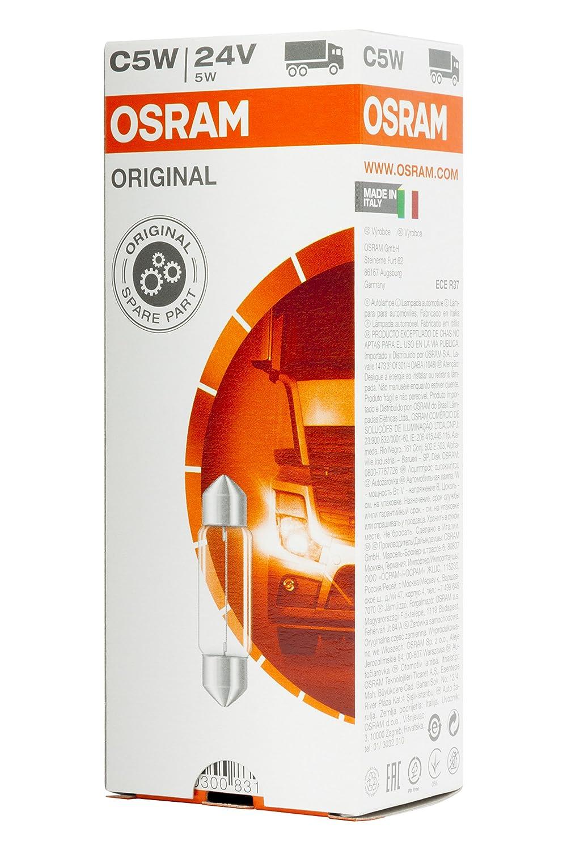 1 Lampe Osram 6423 ORIGINAL Sofittenlampe  Innenbeleuchtung C5W 24V Anzahl 10