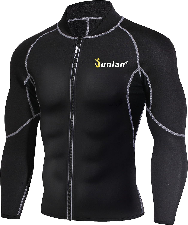 Men Sweat Neoprene Sauna Suit Workout Shirt Body Shaper Fitness Jacket Gym Top