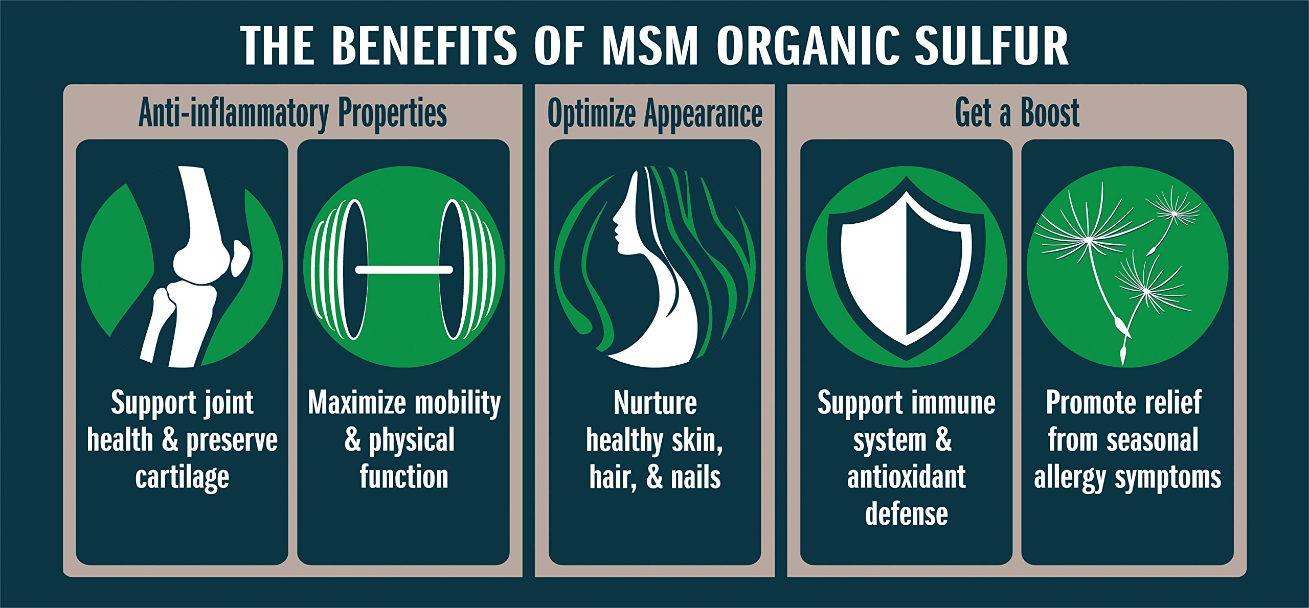 MSM Organic Sulfur Crystals by No Boundaries Health and Wellness – All-Natural, Premium Health Supplement: 99.9% Pure MSM – Benefits: Joint Pain, Allergies, Skin, Hair & Nail Health – No Fillers by No Boundaries Health and Wellness MSM Organic Sulfur (Image #3)