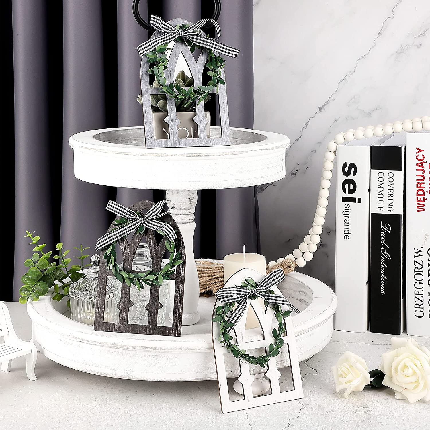 3 Pieces Wooden Farmhouse Window Tiered Tray Decoration Black and White Plaid Rustic Farmhouse Decor Wooden Rustic Mount Window Frames Vintage Country Farmhouse Wall Decor (Textured Colors)