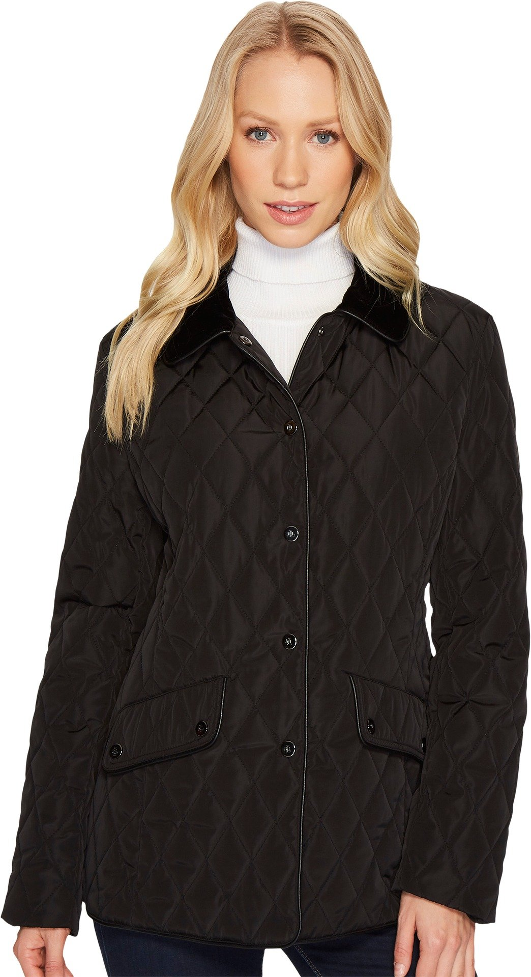 LAUREN Ralph Lauren Womens Velvet Trim Heritage Blazer Quilt Black LG One Size by Lauren by Ralph Lauren