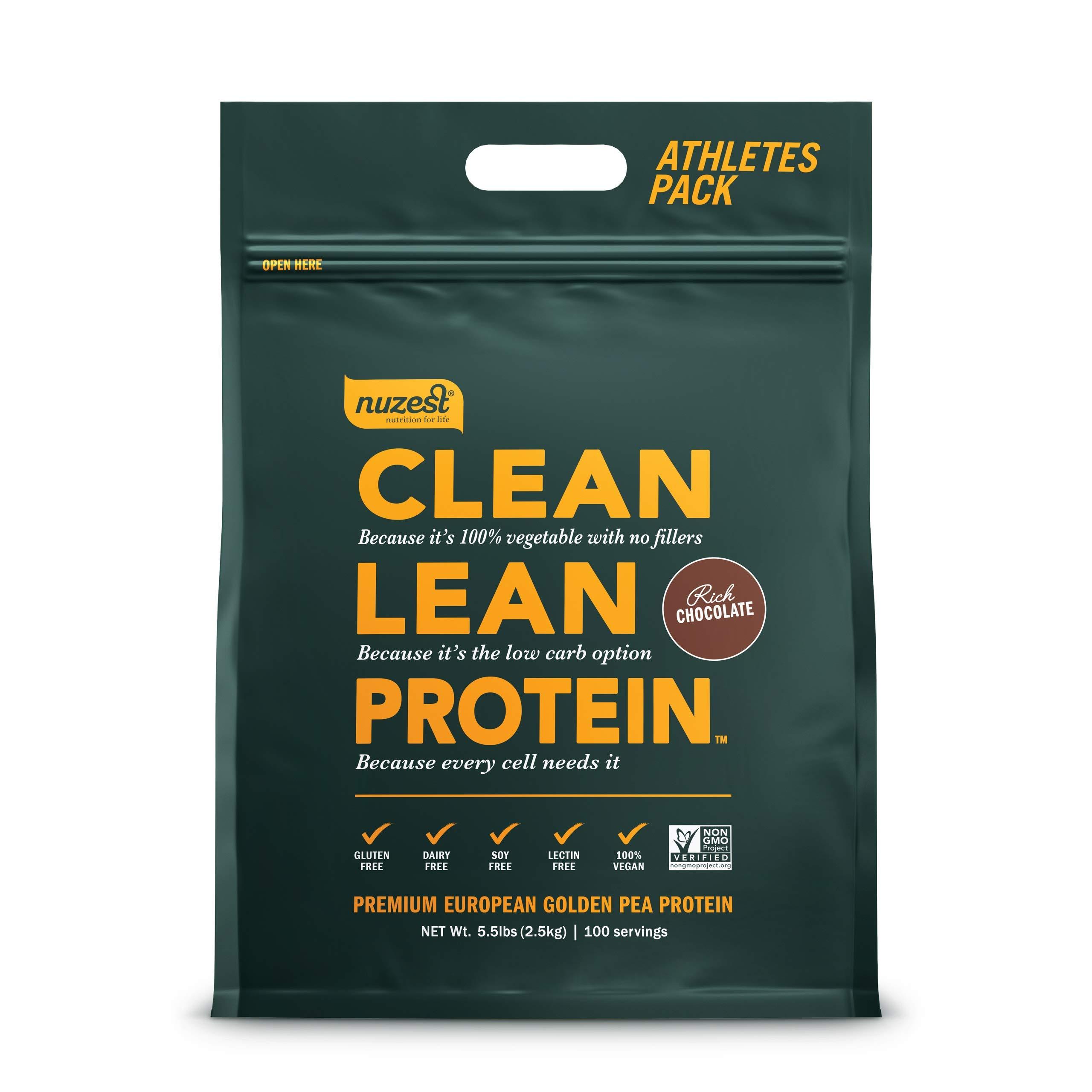 Nuzest Clean Lean Protein - Premium Vegan Protein Powder, Plant Protein Powder, European Golden Pea Protein, Dairy Free, Gluten Free, GMO Free, Naturally Sweetened, Rich Chocolate, 100 Servings, 5.5lb by NuZest