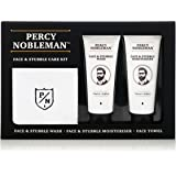 Face & Stubble Care Kit by Percy Nobleman, A Men's Gift Set For Skin Care. Moisturiser, Wash and Face Towel Kit