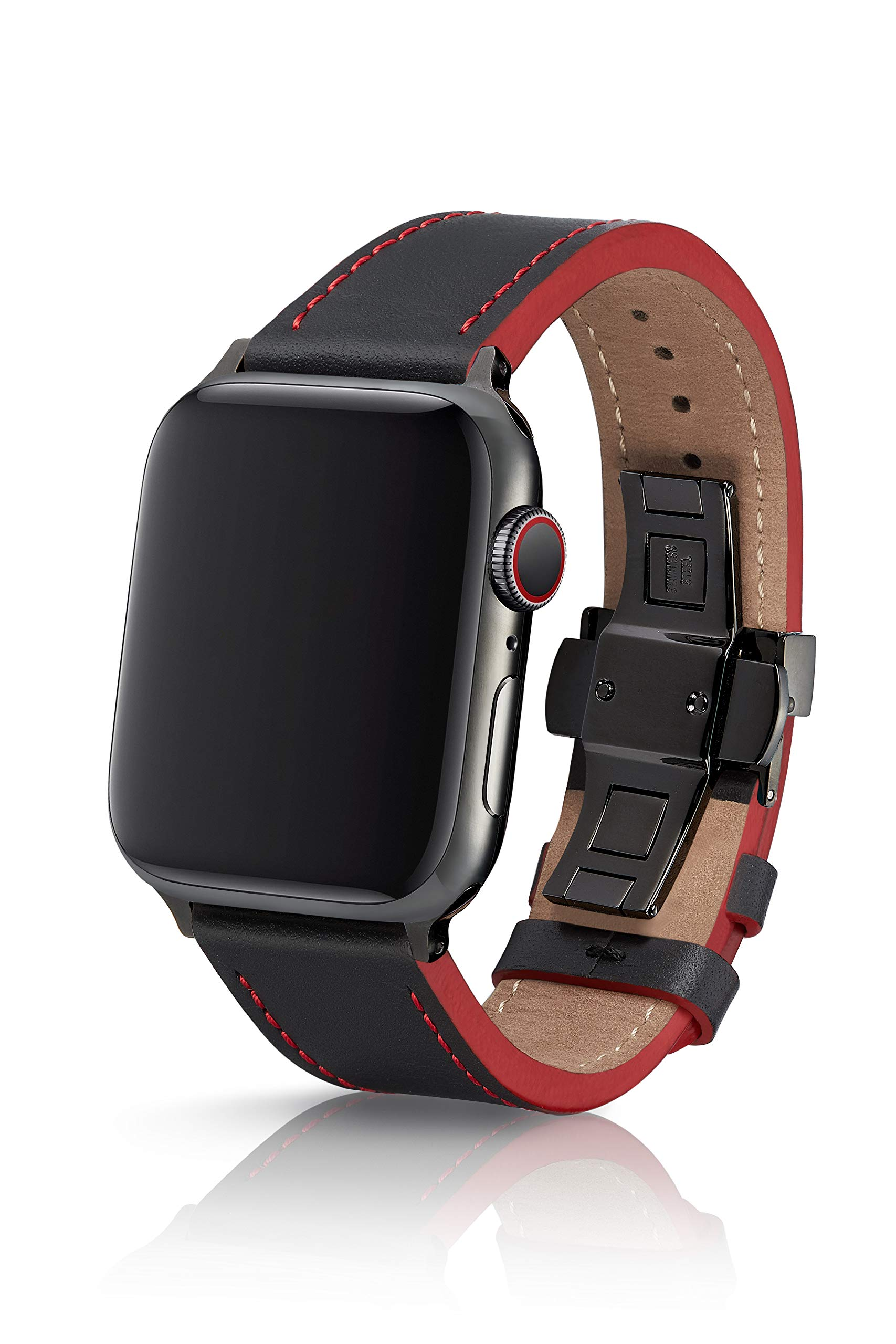 42/44mm JUUK Korza Ruge Premium Watch Band Made for The Apple Watch, Made with Genuine Italian Leather with a Solid Stainless Steel deployant Buckle (Black Components)