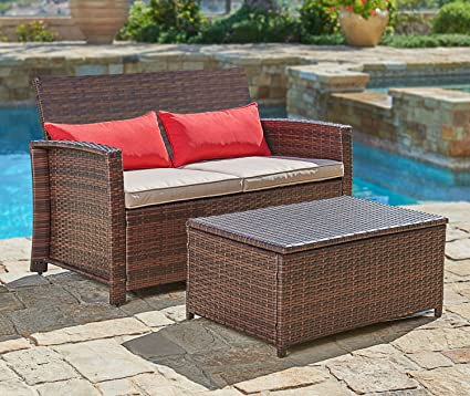 Amazon Com Suncrown Outdoor Furniture Wicker Love Seat With Coffee