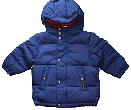 Ralph Lauren Baby Boy Quilted Down Jacket 12 M Chase BLUE