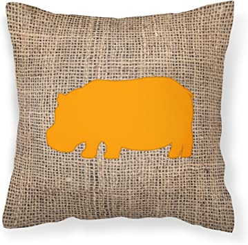 Amazon Com Caroline S Treasures Bb1130 Bl Or Pw1414 Hippopotamus Burlap And Orange Canvas Fabric Decorative Pillow Bb1130 14hx14w Multicolor Garden Outdoor