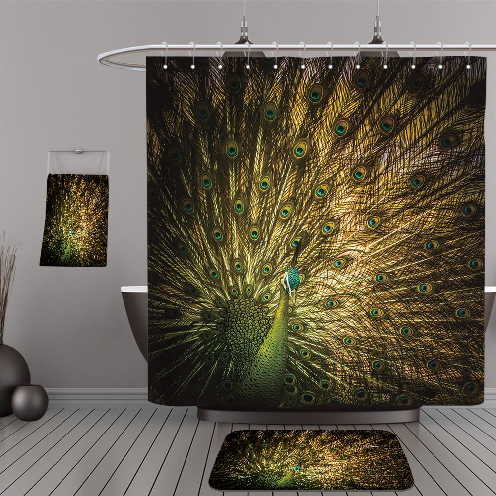 Uhoo Bathroom Suits & Shower Curtains Floor Mats And Bath Towels 286603385 Beautiful Thai golden peacock with close up view. Peacock is the symbol of elegance and gorgeouse. You can apply for website