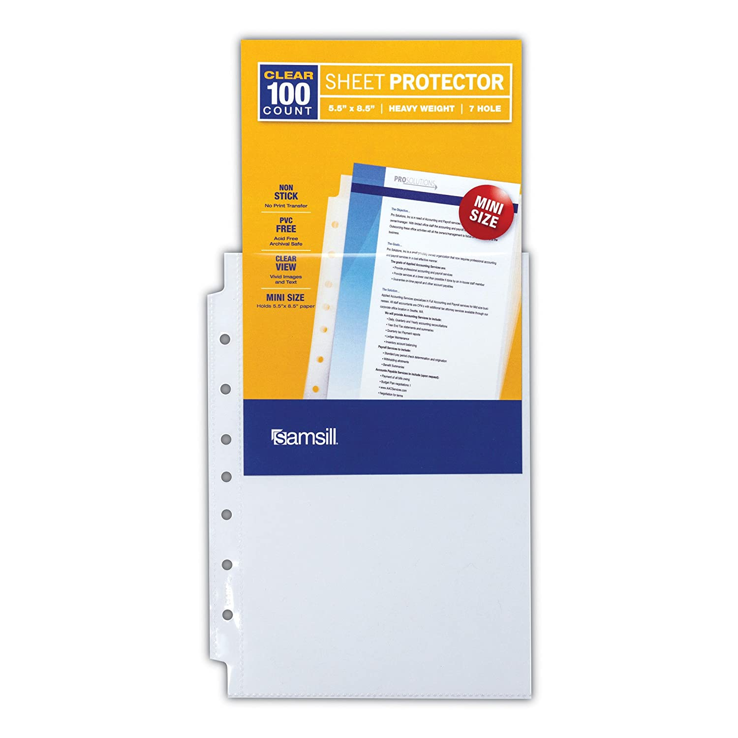 Samsill 100 Mini Clear Heavyweight Sheet Protectors Bulk 100 Pack Top Loading 7 Hole 5.5 x 8.5 Inch Page Protectors for Mini Ring Binders Archival Safe