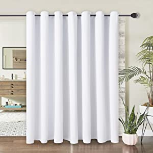 WONTEX Room Divider Curtain- Total Privacy Thermal Blackout Curtains for Bedroom Partition, Living Room and Shared Office, Grommet Curtain Panel for Patio Door, 8.3ft Wide x 8ft Long, Greyish White