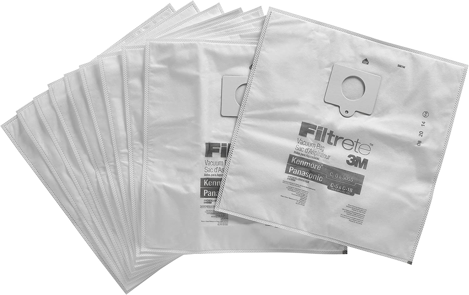 Filtrete 3M Kenmore Style C, Q & 5055 / Panasonic Style C-5 & C-18 Micro Allergen Synthetic Bag 10 Pack