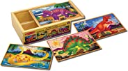Melissa & Doug Dinosaur Jigsaw Puzzles in a Box (Four Wooden Puzzles in Wooden Storage Box, 12 Pieces, Great Gift for Girls