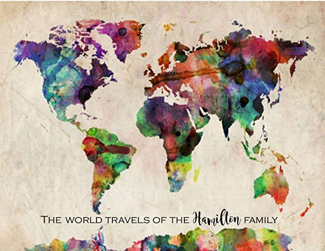 Amazon.com: Travel Map of the World, Rainbow Watercolor Map, Push ...