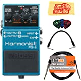 Boss PS-6 Harmonist Bundle with Instrument Cable, Patch Cable, Picks, and Austin Bazaar Polishing Cloth
