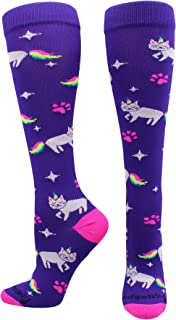 product image for MadSportsStuff Half Cat Half Unicorn - Neon Rainbow Caticorn Athletic Over The Calf Socks