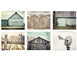 Shabby Chic Farmhouse Wall Decor Set of 6 Art Prints (Not Framed). Aqua Beige Tan Teal. Rustic Country Landscapes. 5x7, 8x10 or 11x14. (6 5x7 Prints Only)