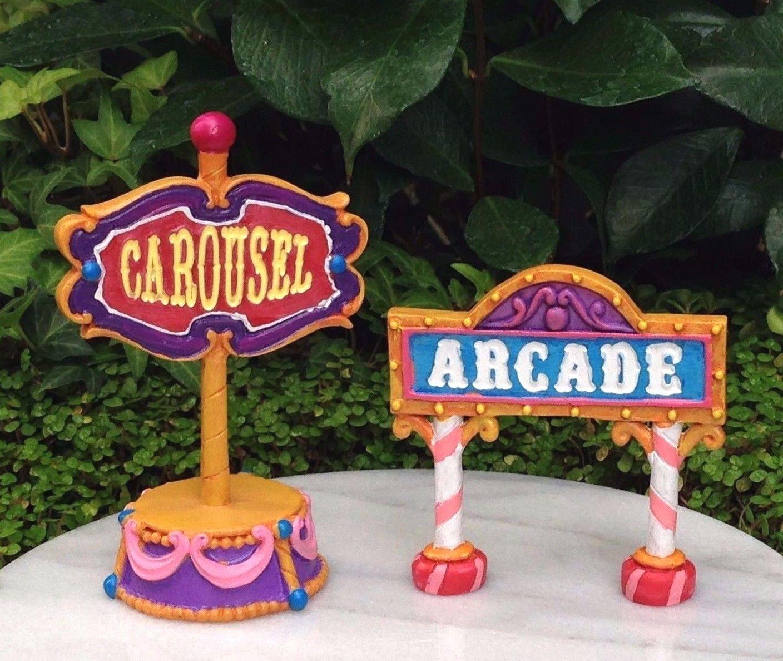 Miniature Dollhouse Fairy Garden Candy Carnival Set 2 Carousel & Arcade Signs