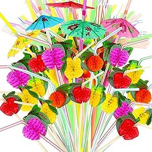 YGDZ 100pcs Umbrella Straws Fruit Straws, Disposable Luau Party Umbrella Straws for Drinks, Tropical Hawaiian Straws Beach Birthday Party Decorations