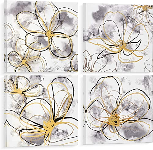 ORA Canvas Wall Art 4 Piece 12X12 Framed Picture Set White Gray Gold Flower Wall Decor Abstract Blossom Modern Wall Canvas Print