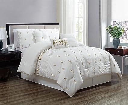 amazon com 7 piece bedding set white gold embroidered comforter