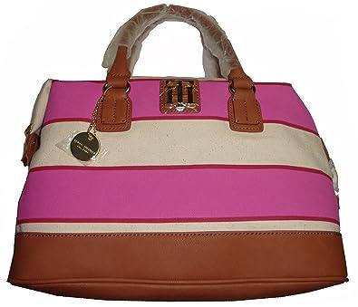 b0860e35a1af Tommy Hilfiger Women's Bowler/Satchel Handbag, White/Pink/Tan ...
