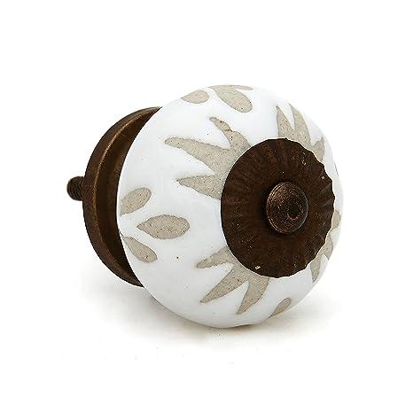 Amazon.com: Color blanco grabado perilla de cerámica para ...