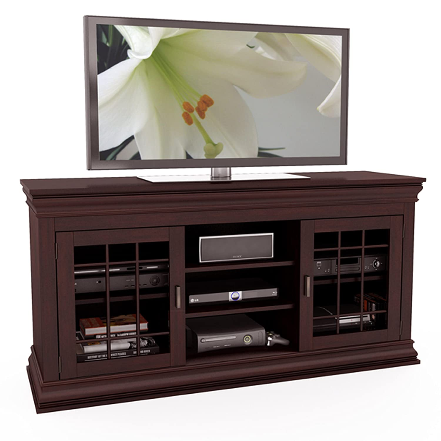 60 Tv Entertainment Center Part - 42: Amazon.com: Sonax B-231-NCT Carson 60-Inch Wood Veneer TV/Component Bench:  Kitchen U0026 Dining