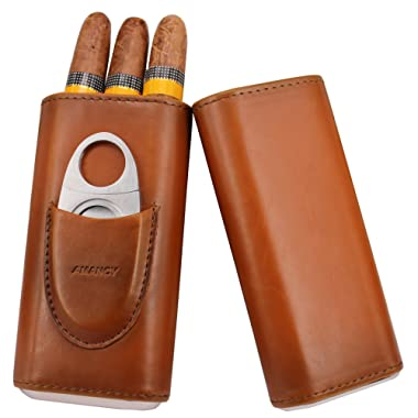 AMANCY Top Quality 3- Finger Brown Leather Cigar Case, Cedar Wood Lined Cigar Humidor with Silver Stainless Steel Cutter