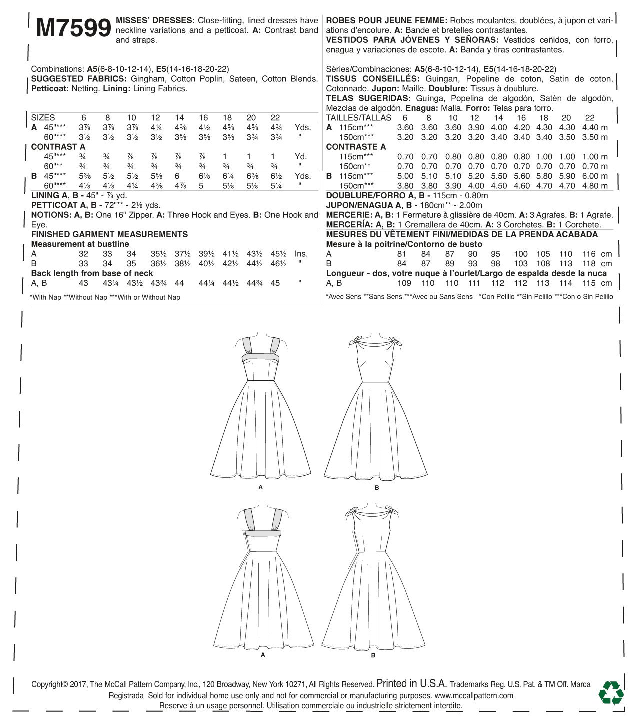 Amazon.com: Butterick M7599-E50 Misses Lined Flared Dresses with Petticoat, 14-16-18-20-22