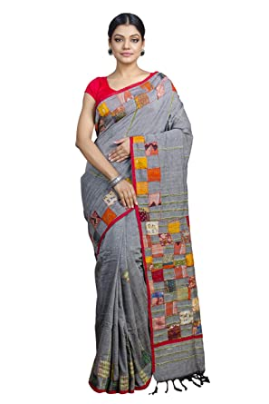 4118441f883aa Tant Ghar Women s Cotton Khesh kantha Patch Work sarees with blouse (Grey-  BA-