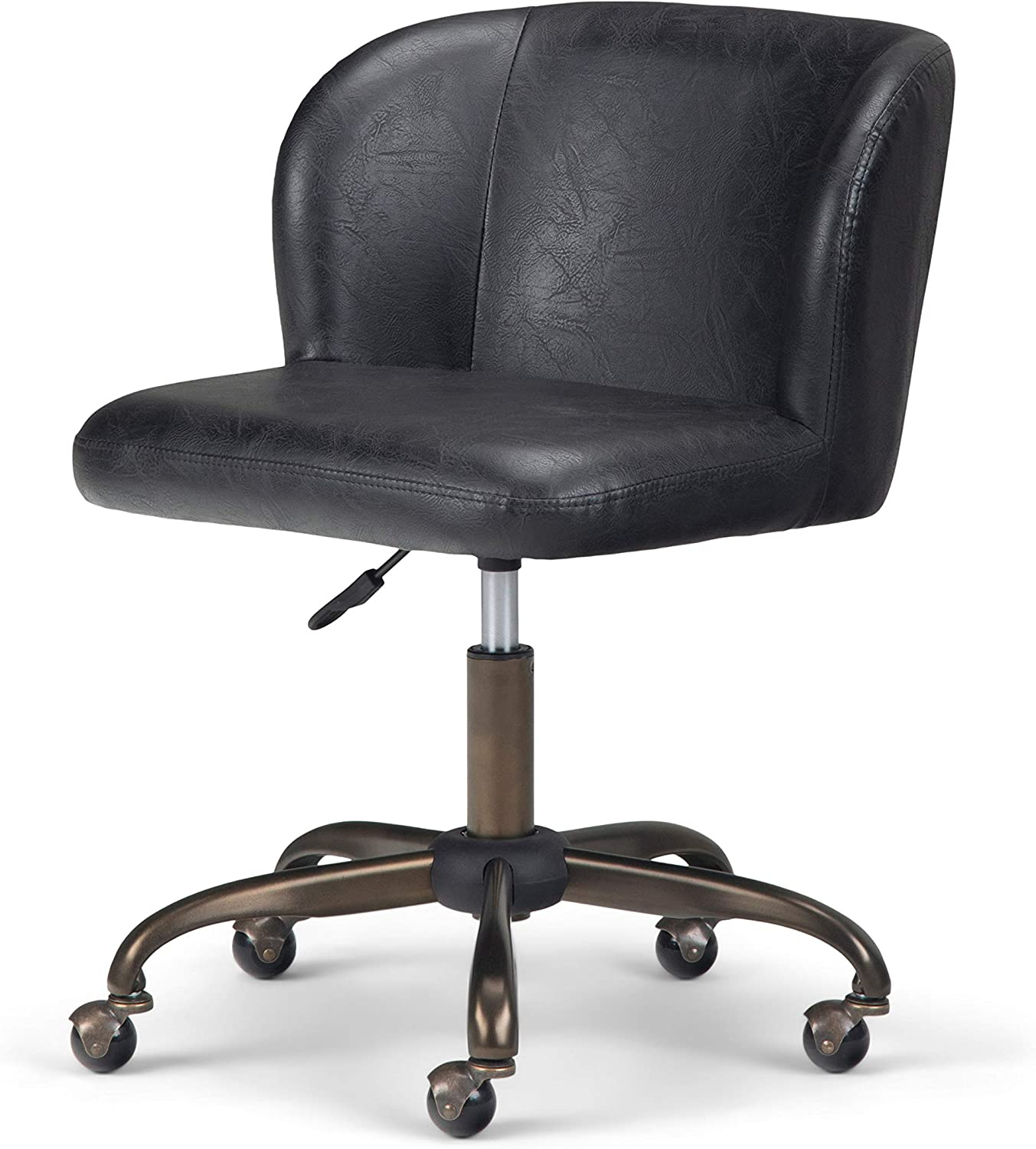 Simpli Home Sheehan Swivel Adjustable Executive Computer Office Chair in Distressed Black