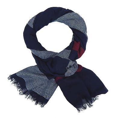 4e5bf011d60f Ella Jonte Écharpes foulard d homme élégant et tendance Casual-style bleu  blanc rouge