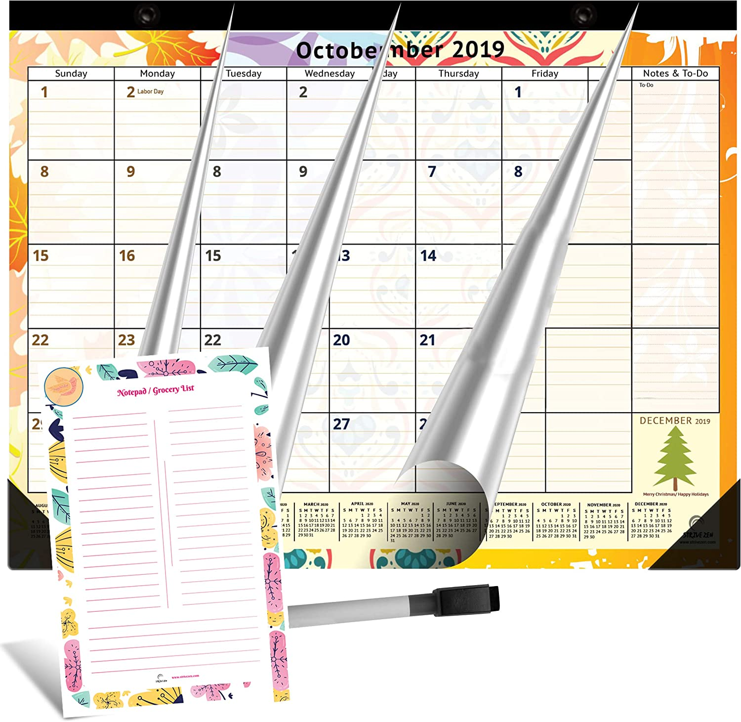 Large Magnetic Calendar 2020 for Fridge by StriveZen, 16x12 inches, Big Monthly Pages Sep 2019- Dec 2020, Bonus Dry Erase Notepad/Grocery List and Dry Erase Marker