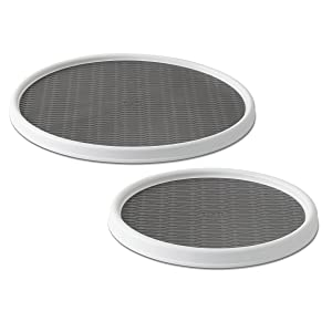 Copco 5220594 Non-Skid Pantry Cabinet Lazy Susan Turntable, 12-Inch and 18-Inch, White/Gray, 2-Pack